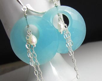 SUMMER SALE Seafoam Green Hoop Earring in Sterling Silver with Freshwater Pearl