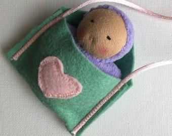 purple heart Baby Doll // Waldorf Toy // Waldorf Doll // Pocket Doll // tan skin doll// biracial Doll // Cloth Doll // Valentines Day