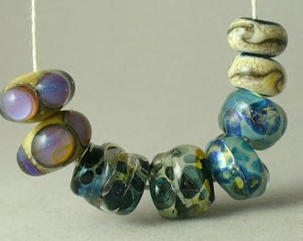 Lampwork beads/SRA Lampwork/beads/earring pairs/Double Helix/reactive glass/silver glass/blue/nuggets/organic/