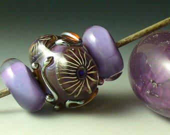 Lampwork beads/SRA lampwork/beads/murrini/purple/focal/