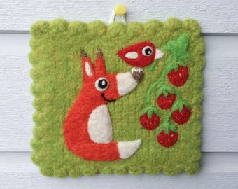 Wall hanging felted olive green wool fiber art hand knit with needle felted fox birdie bird with strawberry strawberries