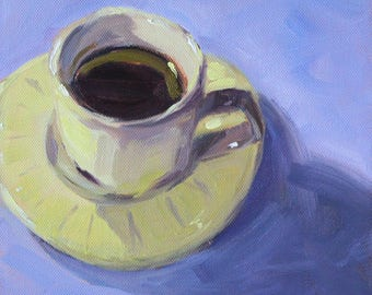 Kitchen Still Life, Original Tea Cup, Oil Painting, 8x8 Canvas, Blue White, Coffee Cup, Wall Decor, Small Square, White Porcelain, Saucer