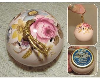 Vintage Ye Olde Floral Ceramic Pomander, Closet or Dresser Hanging Sachet, roses, flower pedals