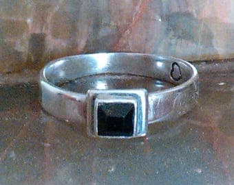 Sterling Silver Ring with Square Black Swarovski Crystal Size 8