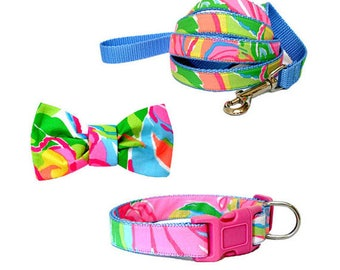 SO A PEELING Dog Collar and/or Leash on Light Blue with Bow or Flower Option Made from Lilly Pulitzer Fabric Size: Your Choice