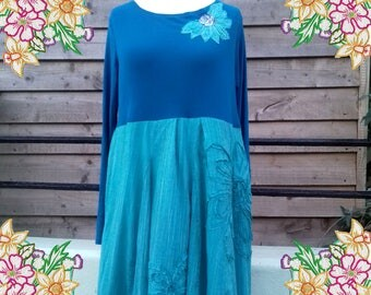L 1X 2X  Floaty lagenlook teal dress.  upcycled refashioned preloved refashion recycled clothing. spring summer pink purple