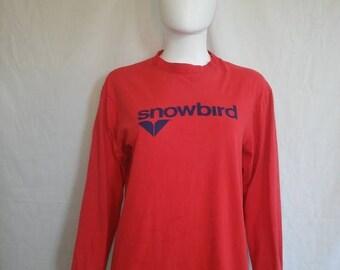 Closing Shop 40%off SALE SNOWBIRD Long Sleeve t shirt,  Vintage 80's 90's Snowbird t-shirt Snowboard Skater