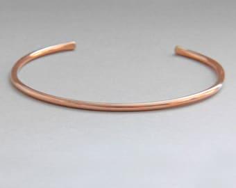 Rose Gold Cuff Bracelet, Thin Rose Gold Bracelet, Smooth Cuff Bracelet, Plain Cuff Bracelet, Wife Gift, Rose Gold Jewelry, Thin Cuff