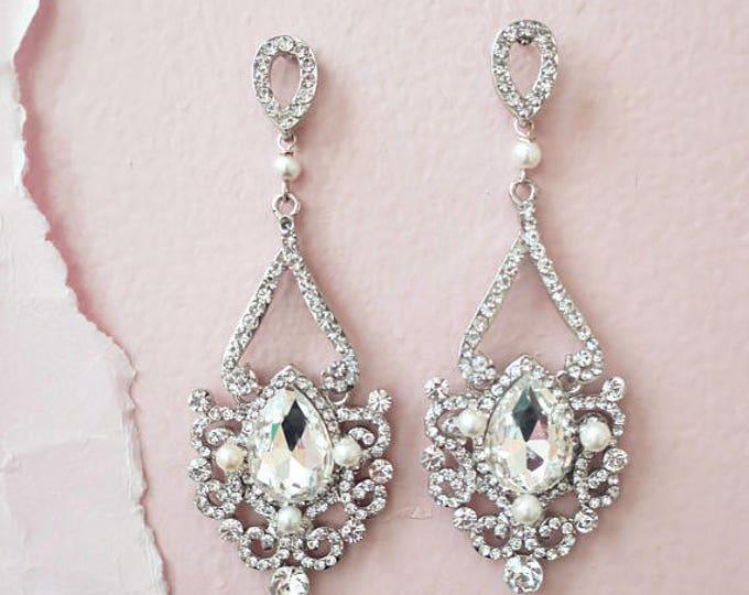 Bridal Chandelier Earrings Art Deco Wedding Jewelry Crystal Bridal Earrings Old Hollywood Great Gatsby Earrings Rhinestone Drop Pearl ADIE