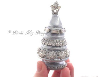 Tiny Rhinestone Christmas Tree Sculpture Silver Shabby Holiday Decoration Mixed Media Sculpture Lorelie Kay Original