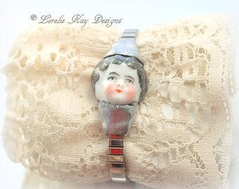 Frozen Charlotte Doll Head Bracelet Expansion Band Doll Vintage Watch With Doll Lorelie Kay Designs Original