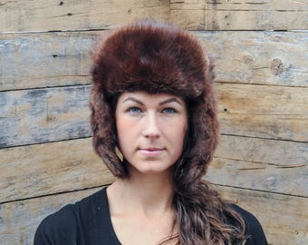 Ushanka Russian Fur Soviet warm hat Russian Hat Military Russian trapper hat fur hunting hat real fur hunting hat Aviator Hat brown aviator