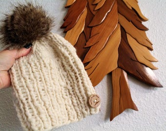 Knit hat with faux fur pom pom. Chunky knit hat. Warm. Cozy.