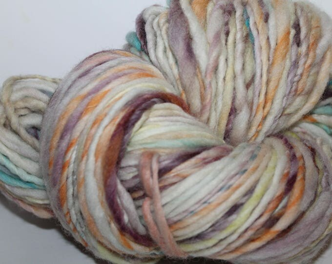 Hand spun Cheviot Wool. Single ply. Hvy Worsted weight. 1/2lb/212 yards. Knit.