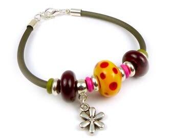 Handmade lampwork & gum bracelet - red and orange
