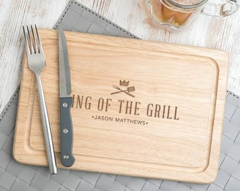 Father's day grilling 'King Of The Grill' Cutting Board Serving Board Fathers day grilling gift Father's Day Gifts 30x20cm - NOW 50% OFF!!