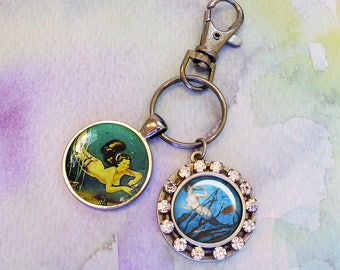 Mermaid key ring with bling...vintage mermaids,gift boxed,  Ready To Ship TODAY,  mermaid accessories, mermaid jewelry