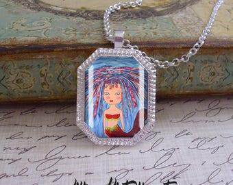Mermaid pendant, octagonal original art pendant, mixed media art,Ready To Ship, mermaid pendants, mermaid jewelry,mermaids, mermaid pendants