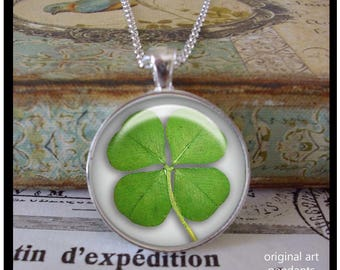 4 Leaf Clover pendants, illustration pendants,Ready To Ship in a  gift box,  gifts under 20 dollars, St Patrick's Day pendants, green