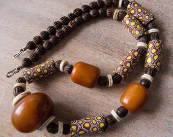 """Vintage Antique Venetian African Trade Beads, Huge """"African Amber"""" Bakelite Beads Necklace - 27.5 Inches"""