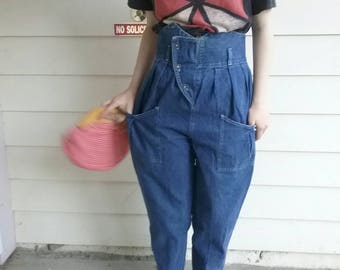 Vintage 80s denim high waist tapered jeans