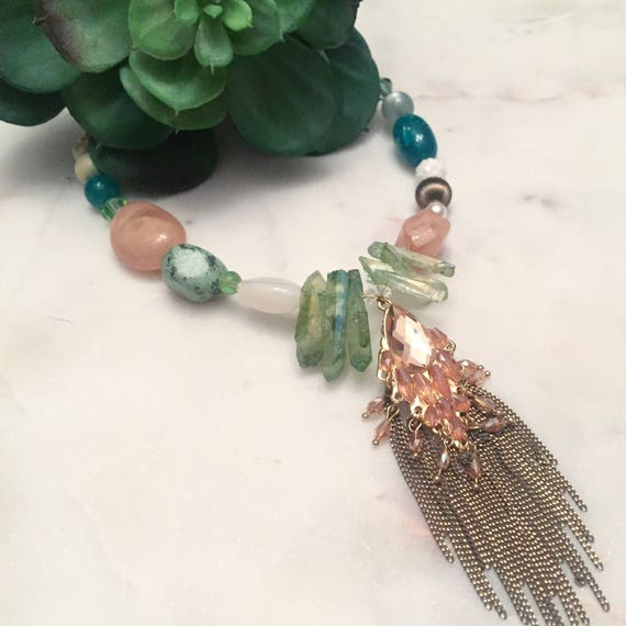 Adele Necklace Peach and Green Mixed Media Crystal and Stone Statement Necklace