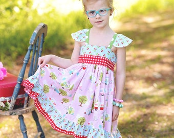 Baby Camper Dress - Baby Dress - Baby Summer Dress - Toddler Camper Sundress - Vintage Camper Dress - Baby Vintage Dress -Toddler Dress