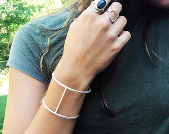 Minimalist Geometric Cuff Bracelet - Cuff Bracelet - Wide Cuff - Geometric Jewelry - Edgy Jewelry - Silver Cuff Bracelet for Women - Modern