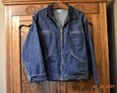 SALE VTG Oshkosh Coat,Sanforized Union made,XL Flannel  Blanket Lined,Blue Jeans Jacket,Unisex,men's 60's  70's, Corduroy collar