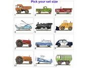 Vintage Transportation Art, Truck, Car, Firetruck, Construction Truck, Art Prints, Wall Decor, pick your set, 8 x 10 art prints, 30 choices