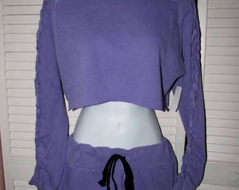 snip snip its my birthday 2 pc purple beach sliced long sleeve thin crop top sweatshirt cut up woven deconstructed micro mini skirt size ext