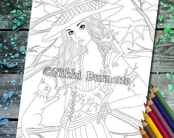 Coloring Page - Digital Stamp - Printable - Fantasy Art - Stamp - Adult Coloring Page - BRYANNE - by Nikki Burnette