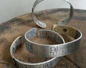 Medium Size Ruler Bracelet Vintage Repurposed Upcycled Aluminum Brass Cuff Him or Her Graphic Carpenter Dressmaker Seamstress