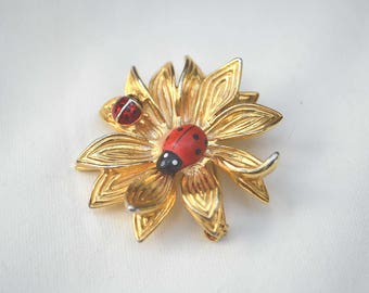 Ladybug Brooch, Anne Klein Brooch, Flower Pin, Goldtone Brooch, 1970's Ladybug Pin, Vintage Brooch, Gold Bug Brooch