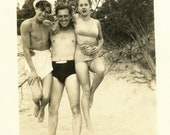 vintage photo 1939 Muscle Man Lifts Young Man & Young Lady on Beach Strongman