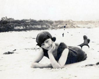 vintage photo 1921 Young Bathing Beauty Ruth Rothaker California Dreaming Carmel by the Sea