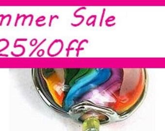 Pearly Rainbow Lampwork beads (6) SRA