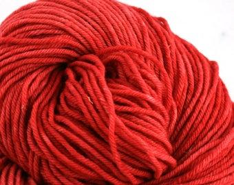 Hand Dyed Aran weight mini Empire Rambouillet Wool 213 yds 4oz Cherry Pie