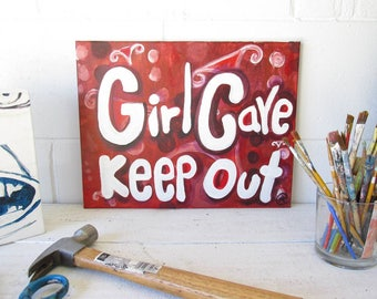 """Girl cave Quot Hand painted  Canvas - Typography Acrilyc-Painting- 14 """" x 11 """" by eileenaart"""