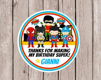 PRINTABLE Superhero Birthday Party Favor Tags / Print Your Own Spiderman, Batman, Robin, Captain America and Superman Stickers / You Print