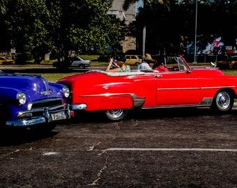 Vintage car photograph Cuba antique automobiles red blue travel photos classic cars Cuban art wall decor original art