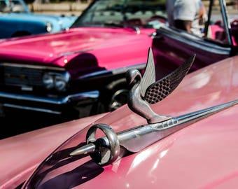Pink magenta classic Cuban car photographs vintage hood ornament Havana Cuba classic vintage automobiles travel photo wall decor original
