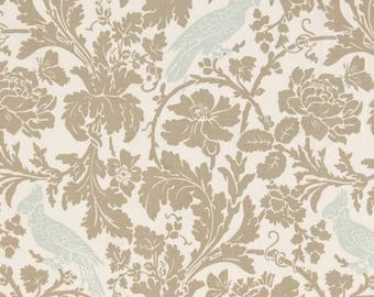 CUSTOM LISTING FOR Kristie-- 2 remnant pieces of taupe Leafy Damask Fabric with light blue Birds- Premier Prints-
