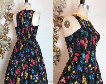 1980s dress vintage dress black floral size small vintage sundress 80s does the 50s smocked dress full skirt dress