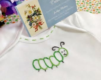 Wiggly Little Caterpillar - Hand Embroidered Bodysuit (made to order - any size)