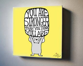 "Mouse Knows You're Strong! 8""x8"" Canvas Reproduction"