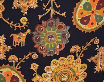 Rayon Fabric suzani style motif fabric ethnic Tribal apparel weight rayon