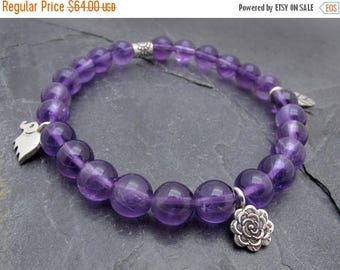 amethyst bracelet, February birthstone jewelry, charm bracelet, elephant charm, Hill Tribe silver charms, gift for her, purple gemstone