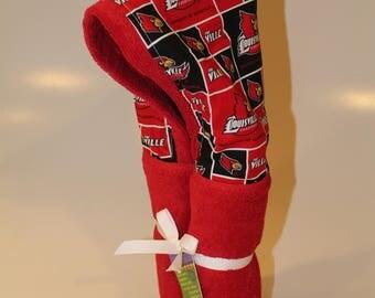 University of Louisville red hooded towel
