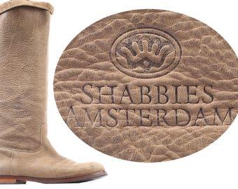 size 8.5 Hunting Boots 90s Equestrian Boho Nubuck Leather Knee High Tall SHABBIES AMSTERDAM Beige  1990s Vintage sz Us 8.5, Eur 39, Uk 6